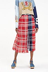 타미 힐피거 Tommy Hilfiger Silk Check Wrap Skirt,TRUE RED / MULTI