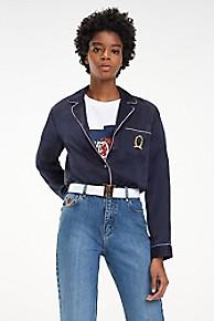 타미 힐피거 우먼 실크 셔츠 Tommy Hilfiger Silk Crest Pajama Top,DEEP WELL