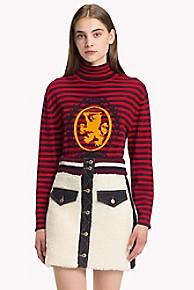 타미 힐피거 Tommy Hilfiger Striped Turtle Neck Sweater,BARBADOS CHERRY
