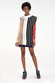 타미 힐피거 Tommy Hilfiger Stripe Sweater Dress,BRIGHT WHITE MULTI STRIPE