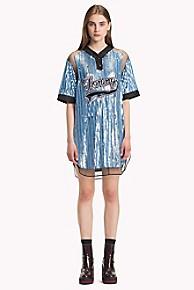타미 힐피거 Tommy Hilfiger Sequined Baseball Shirt Dress,FOREVER BLUE