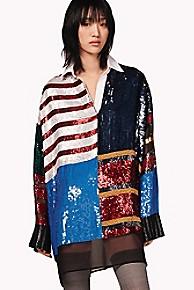 타미 힐피거 Tommy Hilfiger Sequined Rugby Stripe Dress,PEACOAT MULTI