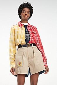 타미 힐피거 우먼 실크 랩 셔츠 Tommy Hilfiger Silk Check Wrap Shirt,TRUE RED / MULTI