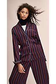 타미 힐피거 컬렉션 우먼 파자마 탑 Tommy Hilfiger Collection Pajama Top,CABERNET STRIPE