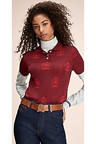 타미 힐피거 우먼 폴로 셔츠 Tommy Hilfiger Hilfiger Collection Crest Monogram Polo,TRUE RED