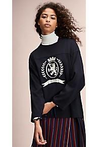 타미 힐피거 Tommy Hilfiger 타미 힐피거 Hilfiger Collection Crest Ribbon Tie Top,DEEP WELL
