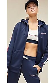 타미 힐피거 Tommy Hilfiger Tommy Sport Logo Tape Hoodie,SPORT NAVY