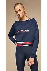 타미 힐피거 Tommy Hilfiger Tommy Sport Off-Shoulder Sweatshirt,SPORT NAVY
