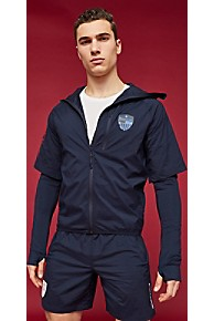 타미 힐피거 Tommy Hilfiger Tommy Sport Zip Reflective Windbreaker,SKY CAPTAIN