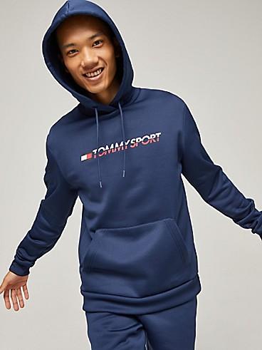 타미 힐피거 Tommy Hilfiger Stretch Fleece Logo Hoodie,SPORT NAVY