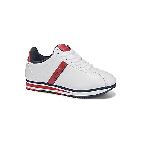 Tommy Hilfiger Stripe Vintage Tennis Shoes - Leche - 7.5 Tommy Hilfiger Women's Shoe. No Longer Reserved For The Court, The White Sneaker Is Back And Works With Everything From Classic Jeans To Floral Dresses.  1'' Heel.  Cushioned Insole, Textured Rubber Outsole.  Spot Clean.  Imported.