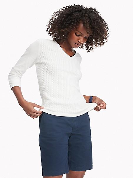 타미 힐피거 Tommy Hilfiger Essential Cableknit V-Neck Sweater