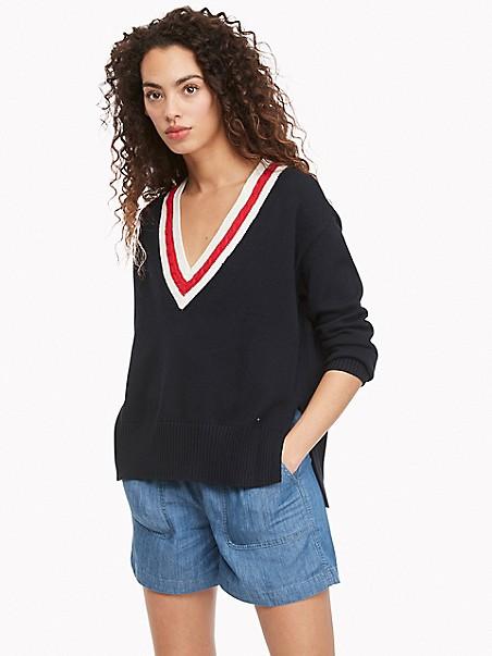 타미 힐피거 Tommy Hilfiger Essential V-Neck Sweater,SKY CAPTAIN