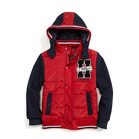 Tommy Hilfiger Final Sale- Hooded Letterman Jacket - Blue Jeans Tommy Hilfiger Big Boys' Jacket.• Outlet Exclusive Style.• Synthetic Body With Cotton Sleeves And Hood.• Machine Washable.• Imported.
