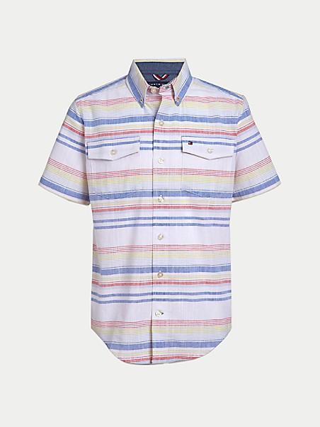 타미 힐피거 셔츠 Tommy Hilfiger TH Kids Slub Stripe Shirt,BRIGHT WHITE