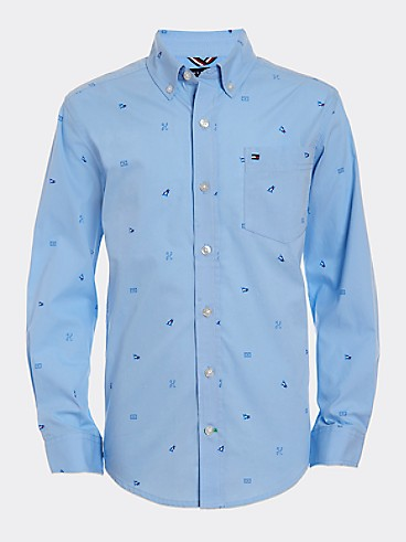 타미 힐피거 Tommy Hilfiger TH Kids Pocket Shirt,PLACID BLUE