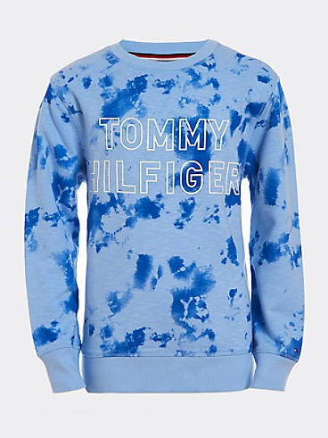 타미 힐피거 Tommy Hilfiger TH Kids Tie-Dye Sweatshirt,PLACID BLUE