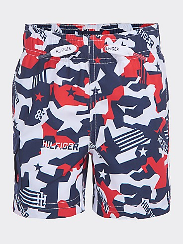 타미 힐피거 Tommy Hilfiger TH Kids Camo Swim Trunk,BRIGHT WHITE