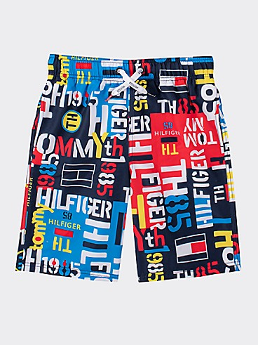 타미 힐피거 Tommy Hilfiger TH Kids Logo Swim Trunk,NAVY BLAZER