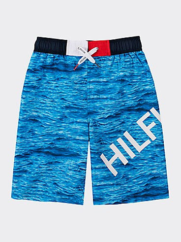 타미 힐피거 Tommy Hilfiger TH Kids Ocean Swim Trunk,DIRECTOIRE BLUE
