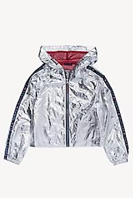 타미 힐피거 Tommy Hilfiger TH Kids Metallic Hooded Jacket,METALLIC SILVER