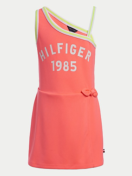 타미 힐피거 걸스 롬퍼 Tommy Hilfiger TH Kids Asymmetrical Romper,JOLT PINK