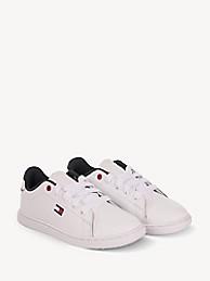 타미 힐피거 키즈 스니커즈 Tommy Hilfiger TH Kids Classic Flag Sneaker,WHITE