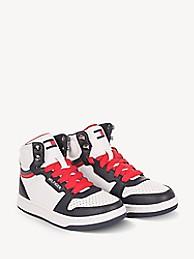 타미 힐피거 키즈 스니커즈 Tommy Hilfiger TH Kids High Top Sneaker,WHITE/NAVY/RED