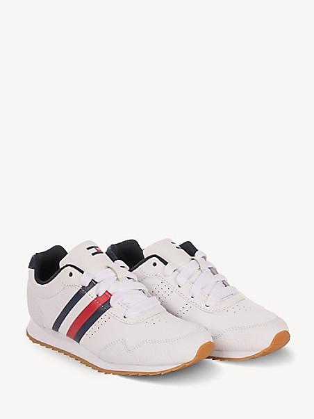 타미 힐피거 키즈 스니커즈 Tommy Hilfiger TH Kids Classic Stripe Sneaker,WHITE/NAVY/RED