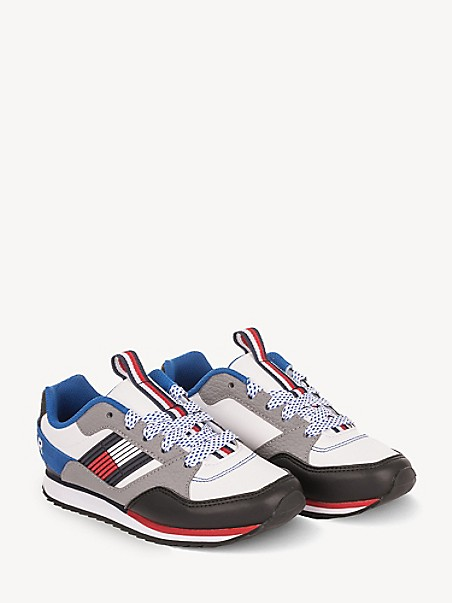 타미 힐피거 키즈 스니커즈 Tommy Hilfiger TH Kids White Flag Jogger,WHITE WITH CORP STRIP/COBALT INNER