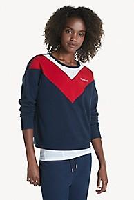 타미 힐피거 Tommy Hilfiger Varsity Colorblock Sweatshirt,NAVY