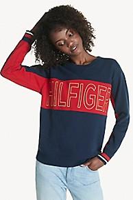 타미 힐피거 Tommy Hilfiger Shimmer Logo Sweatshirt,NAVY/RICH RED