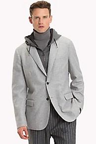 타미 힐피거 울 블레이저 Tommy Hilfiger Wool Blazer With Removable Hood,GREY