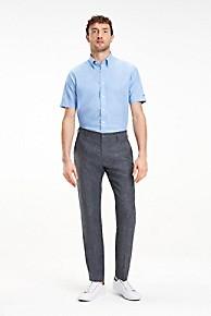 타미 힐피거 Tommy Hilfiger Short-Sleeve Cotton Linen Dress Shirt,DARK LAVENDER