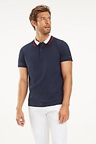 타미 힐피거 Tommy Hilfiger Mercerized Cotton Stripe Collar Polo,NAVY BLAZER
