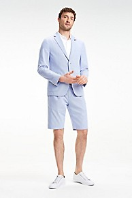 타미 힐피거 Tommy Hilfiger Seersucker Slim Fit Dress Short,RIVIERA