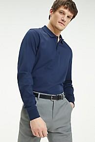 타미 힐피거 Tommy Hilfiger Pima Cotton Long-Sleeve Slim Fit Polo,NAVY BLAZER