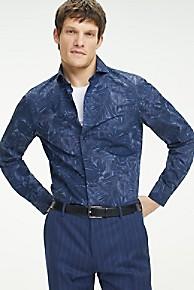 타미 힐피거 드레스 셔츠 Tommy Hilfiger Washed Cotton Slim Fit Dress Shirt,INDIGO BLUE