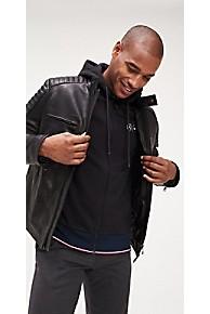 타미 힐피거 Tommy Hilfiger TommyXMercedes-Benz Leather Racer Jacket,JET BLACK