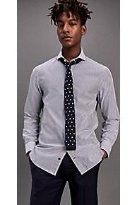 타미 힐피거 드레스 셔츠 Tommy Hilfiger Cotton Poplin Stripe Slim Fit Dress Shirt,CROWN BLUE/CLOUD DANCER
