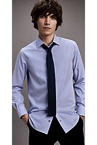 타미 힐피거 드레스 셔츠 Tommy Hilfiger Cotton Poplin Stripe Regular Fit Dress Shirt,LIMOGES/BRIGHT WHITE
