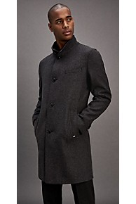 타미 힐피거 Tommy Hilfiger Tailored Wool Check Coat,DARK GREY/BLACK