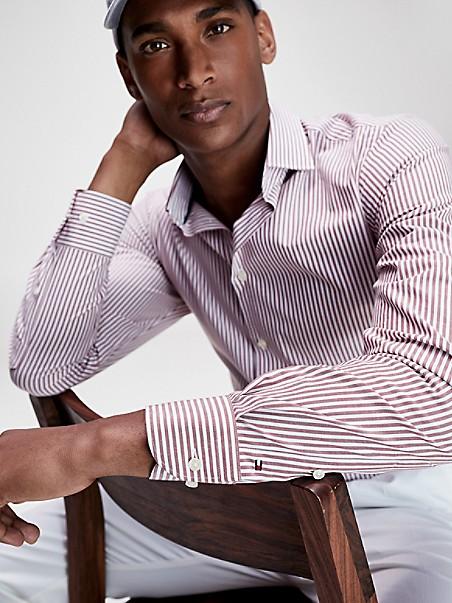 타미 힐피거 드레스 셔츠 Tommy Hilfiger Slim Fit TH Flex Stripe Dress Shirt,RED/WHITE