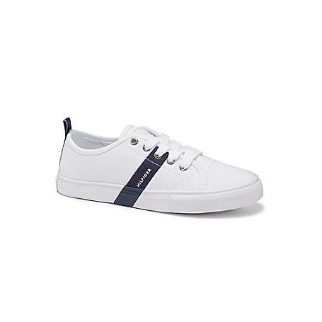 Tommy Hilfiger Stripe Court Shoes - White - 9 Tommy Hilfiger Women's Shoe. No Longer Reserved For The Court, The White Sneaker Is Back And Works With Everything From Classic Jeans To Floaty Dresses.  Outlet Exclusive Style.  1'' Heel.  Cushioned Insole, Textured Rubber Outsole.  Spot Clean.  Imported.