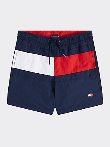 타미 힐피거 Tommy Hilfiger TH Kids Flag Swim Trunk,PITCH BLUE