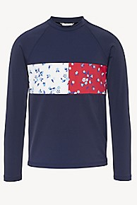 타미 힐피거 Tommy Hilfiger TH Kids Floral Icon Rash Guard,NAVY BLAZER