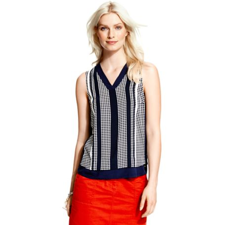 Tommy Hilfiger Dot Stripe Blouse - Bea Prt Top Night Sky