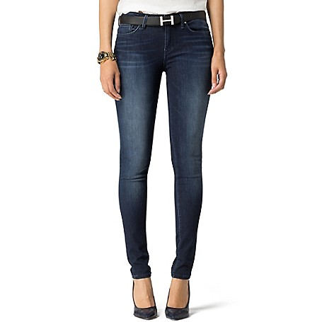 Tommy Hilfiger Dark Rinse Skinny Jeans - Ava Tommy Hilfiger Women's Jean. Our Curve-Hugging Jean Combines The Best Of Both Worlds-Denim Style And Legging Comfort-To Ensure A Perfect Fit And Sublime Feel. • Jegging Fit, Low Waist.• 70% Cotton, 28% Tencel, 2% Elastane.• 5-Pocket Styling. • Machine Washable. • Imported.