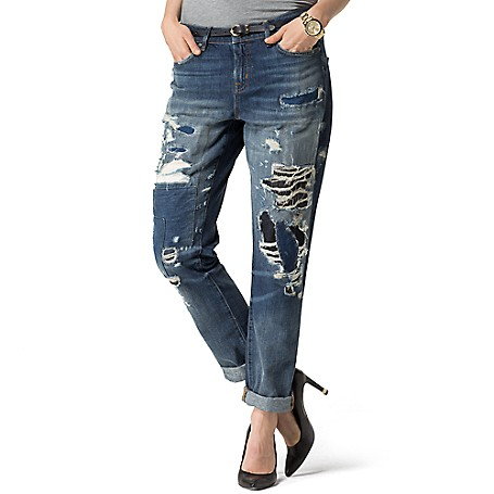 Tommy Hilfiger Destroyed Jeans - Maykayla Tommy Hilfiger Women's Jean. We Put Our Classic Jeans Through The Ringer So They Look Like You've Been Wearing Them, Well, Since Before They Were Vintage. Washed For Softness With Custom Distressing For All The Faded Glory With None Of The Work.•Straight Fit That Sits Lower On The Waist, Fitted Through The Hip And Thigh With A Straight Leg.•5-Pocket Styling.•100% Cotton.•Machine Washable.•Imported.