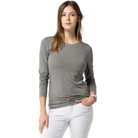 Tommy Hilfiger Long Sleeve Bateau Top - Medium Grey Heather - Xl